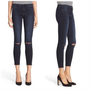 Frame Le High Skinny Ripped Knee Sterling Jeans